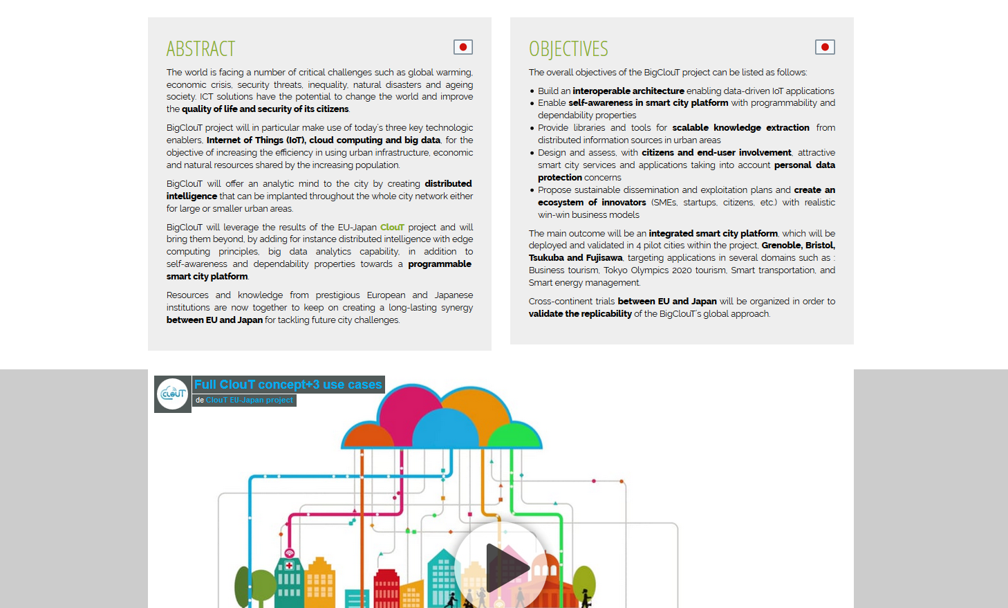 One page public website - Abstract, Objectives, video